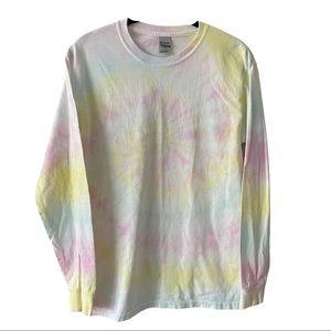 Tie-Dye Pastel Long Sleeve Crew Neck Shirt Small